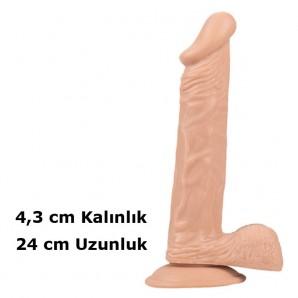 24cm X 4,3cm Dickdo Vantuzlu Ten Rengi Dildo