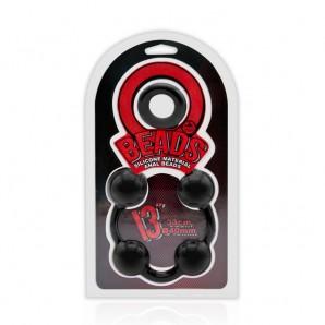 33 cm O Beads Silicone İri Anal Toplar - Siyah