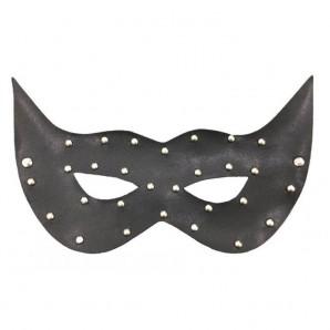 Siyah Deri Taşlı Maske