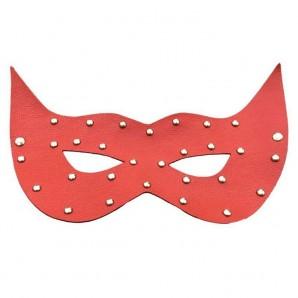 Kırmızı Deri Taşlı Maske
